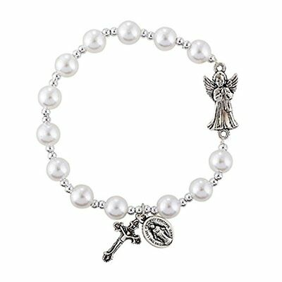 Girls First Holy Communion Gift Guardian Angel Faux Pearl Rosary Charm Bracelet