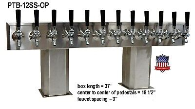 Stainless Steel Draft Beer Tower made in USA 12 Faucet GLYCOL READY-PTB-12SSG-OP