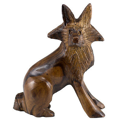 "Hand Carved Wood Wooden Ironwood Fox Figurine 3"" High Made In USA"