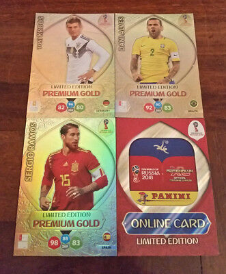 3 Gold Premium Russia 2018 Panini Adrenalyn Xl Fifa World Cup + Online Card Gift