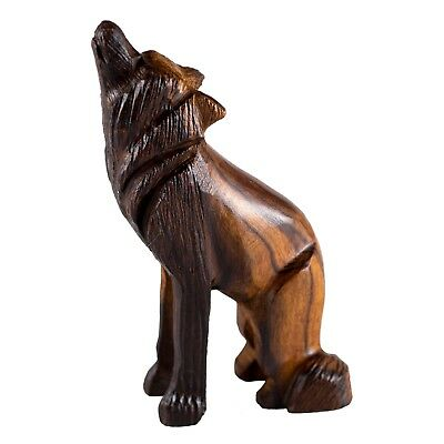 "Hand Carved Wood Wooden Ironwood Sitting Wolf Howling Figurine 4"" High"