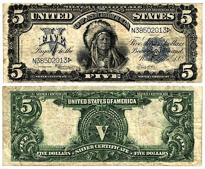 Vtg 1899 $5 Lg Size U S Silver Certificate FAMOUS CHIEF ONCPAPA Note Fr281 F/VF