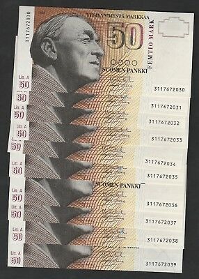 10 Pcs Of  50 Mark From Finland 1986 Unc With Consecutives Numbers