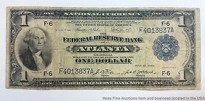 1918 Flying Eagle $1 One Dollar Federal Reserve Note Atlanta Currency Large Bill