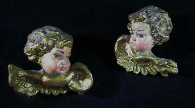 Pair 2 Antique French Hand Carved & Painted Cherub Heads Putti w/ Lifelike Faces