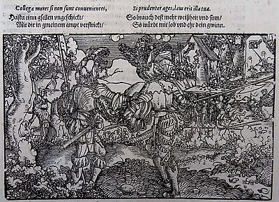 1532 Master of Petrach - Hans Weiditz master woodcut TWO KNIGHTS viewing PILLAGE