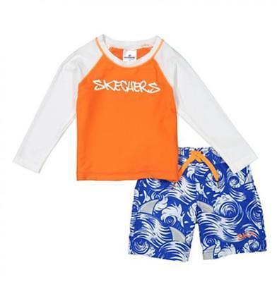 Skechers Boys Aqua /& Multi Color 2pc Rashguard Swim Set Size 4 5 6 7
