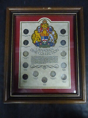 Canadian Silver Dime Coin Framed Collection