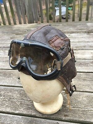 Antique WW II B-6 US Army Air Force Pilots Winter Leather Helmet and Goggles
