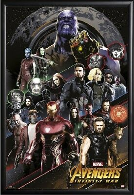 INFINITY WAR MOVIE POSTER FRAMED (BLACK) US Version (AVENGERS)(Size 24x36)