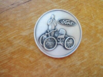 Burnished Silvertone Ford Medallion or Paperweight Early Model Ford