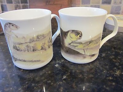 Horchow Lot 2 Bone China England Coffee Cup Mug Otter ? Muskrat Chipmunk