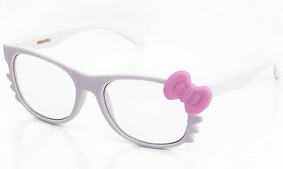 883f90a25 Clear Lens Glasses Bow & Whiskers Bright Rubber Frame Cosplay Hello Kitty  Style