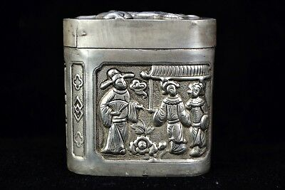 chinese Collectible Handwork Tibet Silver rare Old cigarettes & tobacco Box