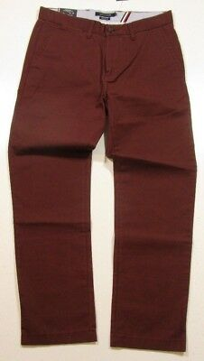 Tommy Hilfiger Men's Burgundy Light Weight  Custom Fit Chino Pants
