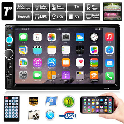 """7"""" Double 2 Din Touch Screen Car MP5 Player Bluetooth Stereo FM Radio USB TF AUX"""
