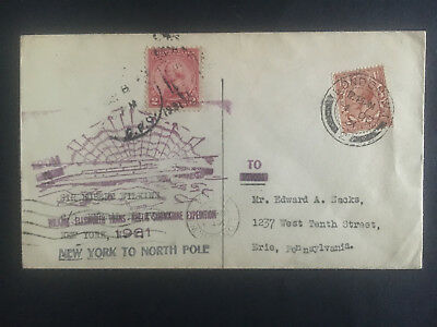 1931 London England to USA Cover Hubert Wilkins North Pole Expedition Submarine
