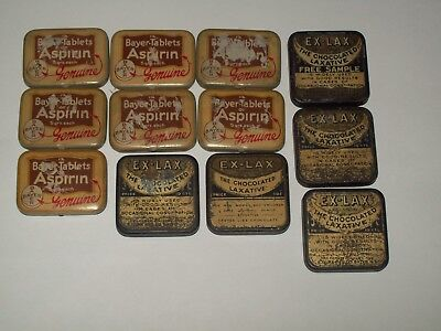 Vintage-Advertising-Litho-Aspirin-Laxative-Medicine-Tin-LOT-of 12-VERY POOR