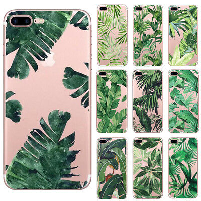 Banana Leaf Flower Pattern Clear Soft TPU Phone case for iPhone 6 6s 7 8 Plus X
