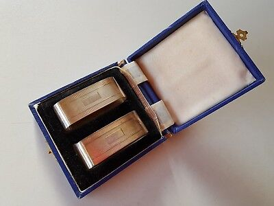 Vintage Pair Boxed Oblong Sterling Silver Napkin Rings Birmingham 1951 Wedding