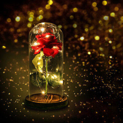 Artificial Red Rose with Led Light in Glass Dome Beauty