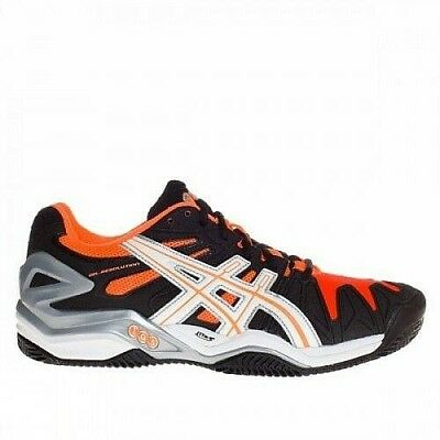 Mens Black asics Gel Resolution 5 Clay Court Tennis Shoes Trainers Size 12 13
