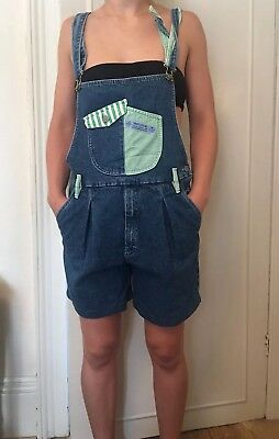 Vintage Womens Dungarees Blue Denim, Striped Green & White Fabric. Denim Shorts