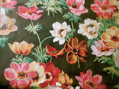 Antique French Anemone Floral Cotton Fabric ~ Pink Red Brown Olive Golden Yellow