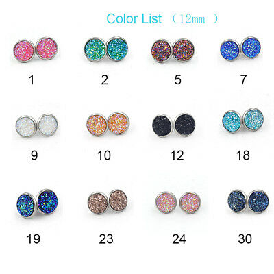 12mm Tiny Druzy Earrings Round Metallic Glitter Stainless Steel Studs Beach