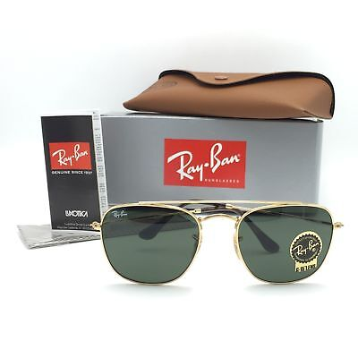 New Ray-Ban RB3557 001 Gold Squared Aviator Sunglasses G-15 Classic Lenses 54mm