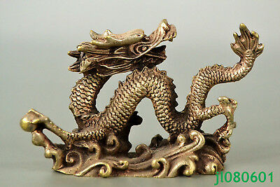 Chinese Collectible Old tibet silver Royal Dragon Lucky look back rare Statue