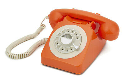 GPO 746 Orange Retro Vintage Style Desk Phone with Working Rotary Dial