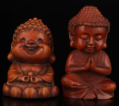 Two Chinese Collection Boxwood Hand-Carved Buddha Statues Decoratio