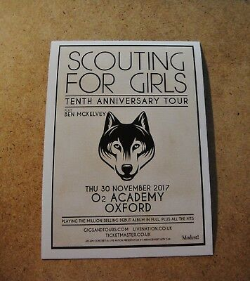 Scouting For Girls Flyer, Postcard Size. 'tenth Anniversary Tour - Oxford 2017