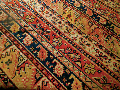 Antique French Kilim Furnishings Fabric  #1 ~ Red Salmon Blue Gold ~ Unique!