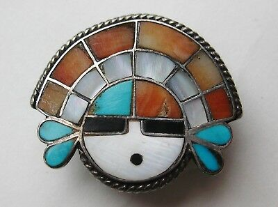 Vintage 30s Zuni Indian Coral Turquoise Inlay Sterling Silver Sunface Bolo
