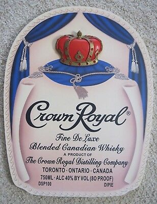 Crown Royal Whisky Wood 3D Bar Pub Wall Hanging Sign Jeweled ~ Pre Owned