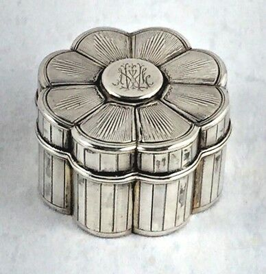 """French Sterling Flower Design Hinged Box - Mono'd - 1 5/8"""""""