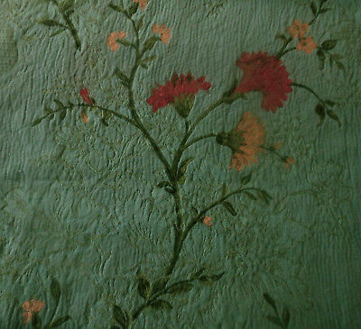 Antique Vtg French Floral Carnation Brocade Jacquard Fabric ~ Aqua Turquoise Red