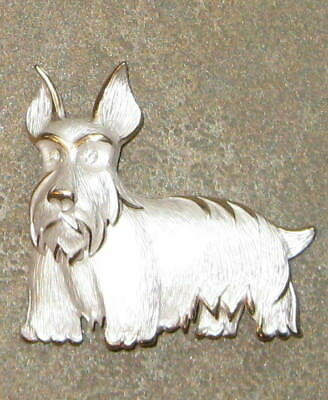Awesome Scottish Terrier or Westie Pin 3-D Silver and Gold Trim