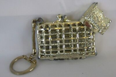 Scottish Terrier Metal Gold Tone Change Purse with Key Chain
