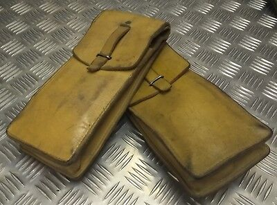 Genuine Vintage Military Issue Leather Ammo / Utility Pouch Light Brown / Tan X2