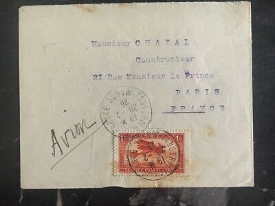 1926 Tanger Morocco Airmail Cover To Paris France