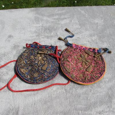 2no. ANTIQUE INDIAN EMBROIDERED GILT THREAD & SEQUIN PURSES