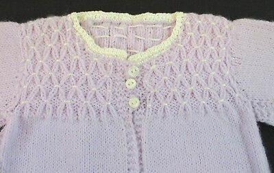 Vintage Hand Knitted Lavender Baby Sweater Flocked Bodice New Never Used Size 0
