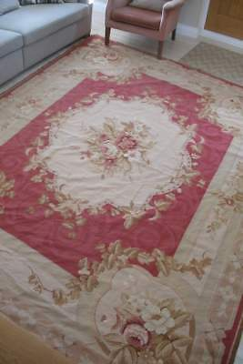 10 ft x 8 ft vintage Aubusson style needlepoint rug, roses