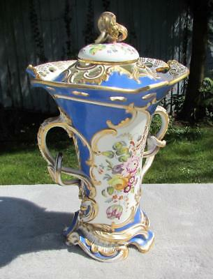 "FINEST 13"" ANTIQUE 19thC PARIS PORCELAIN FRENCH VASE / COVER- HAND PAINTED"