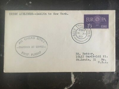 1960 Dublin Ireland First Flight Cover FFC To New York Usa Irish Airlines
