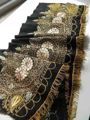 Antique raised couched gold metallic & silk hand embroidery black wool pelmet