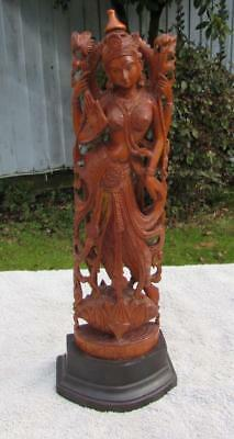 Finest Large Vintage Indian Carved Wooden Lakshmi Figure